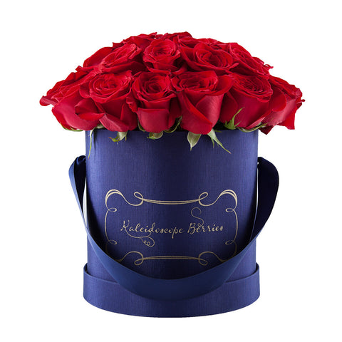 Dangerous Beauty - Navy Hatbox with Red Roses