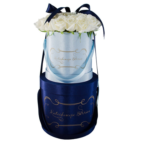 Little Boy Blue - Light Blue Hatbox With White Roses Stacked on Navy Hatbox