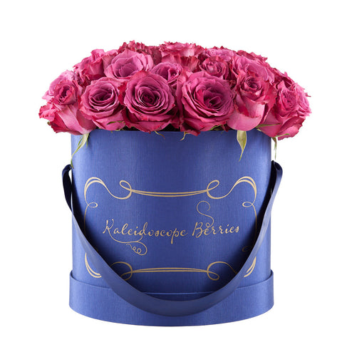 Plum Skies - Indigo Blue Hat Box With Bouquet of Blueberry Roses