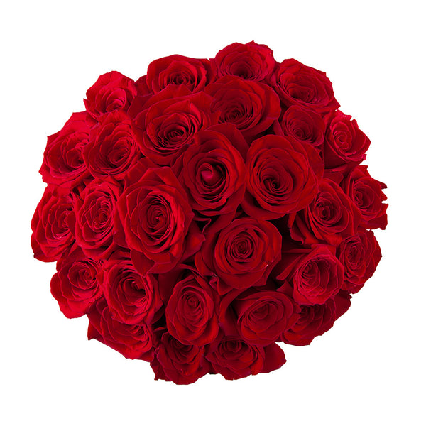 perfect round bouquet of red roses top view