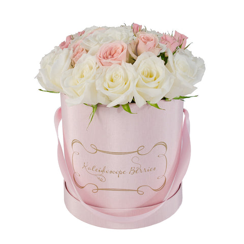 White Cotton Pink Candy -  Pink Hatbox with Pink and White Roses