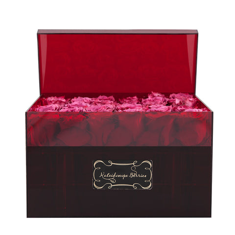 Red Velvet - Red Acrylic Box and Blueberry Roses