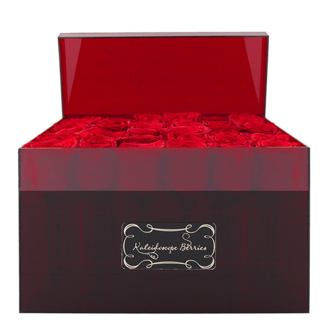 American Beauty -  Red Acrylic Box with Red Roses