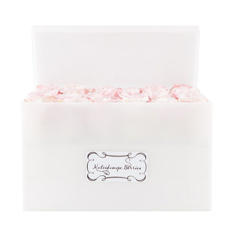 Heavenly Blush - White Acrylic Box with Faith Pink Roses