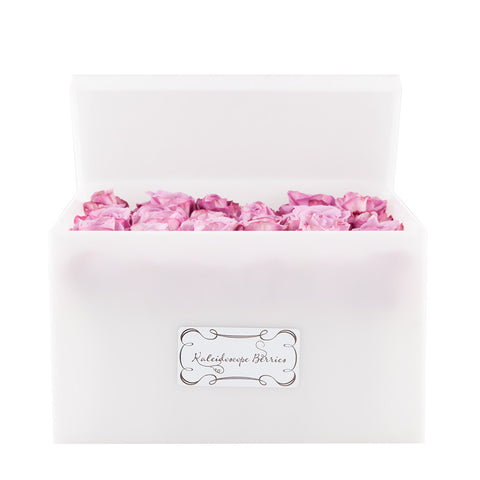 Provence - White Acrylic Box with Lavender Roses