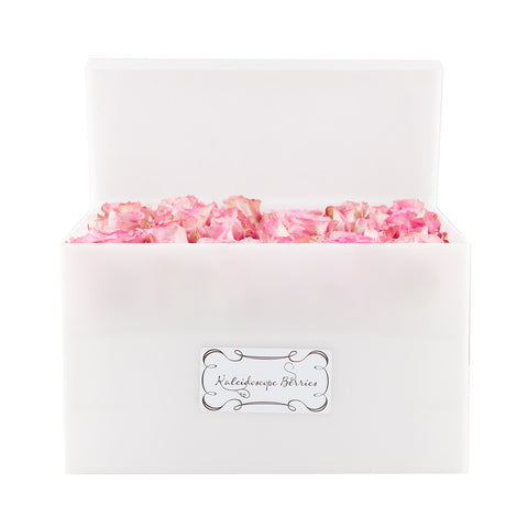 La Vie en Rose - White Acyrlic Box with Vibrant Pink Roses