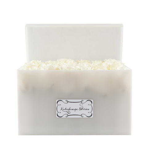 White Cashmere - Snow Quartz Hued Acrylic Box with Alabaster Roses