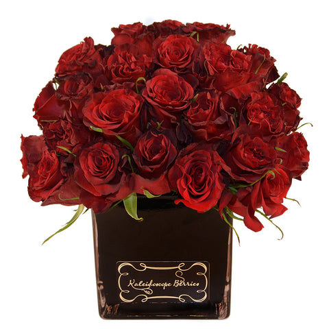 Film Noir - Black Square Vase with Deep Red Roses