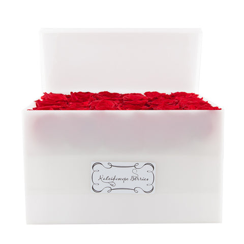 Where There is Smoke There is Fire - White Acrylic Box with Red Roses