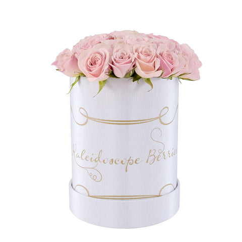 Mini Footprints - White Hatbox With Pink Spray (Mini) Roses