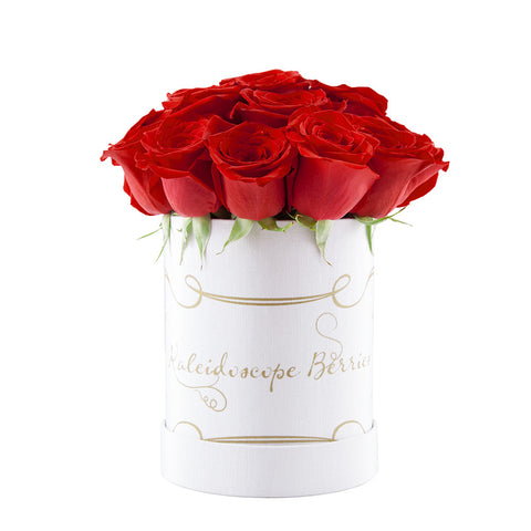 White Russian - White Hatbox with Red Roses