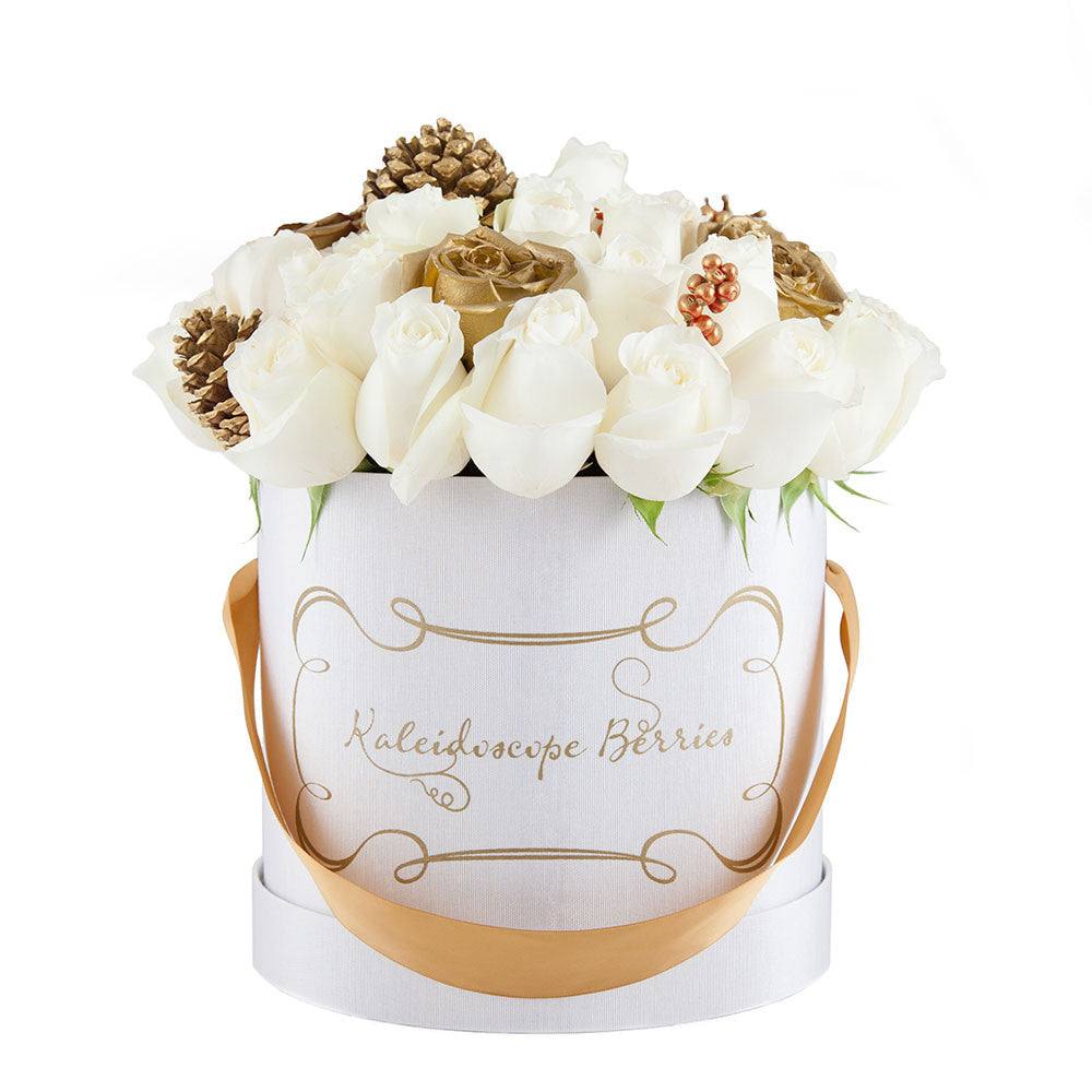 Cardinal Red Hat Box | Bouquet White Roses 24, 36 or 60 ...