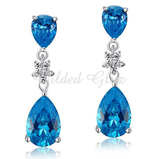 Blue CZ Dangle Earrings