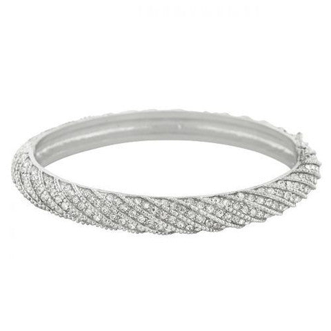 Braided Clear CZ Bangle