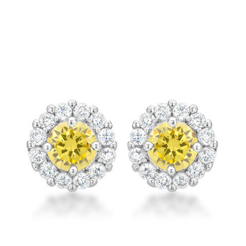 Canary CZ Halo Earrings