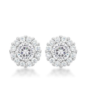 Clear CZ Halo Earrings