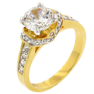 Dazzling Gold Prong Set Engagement
