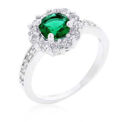 Emerald CZ Halo Ring