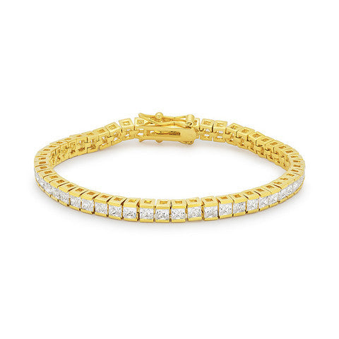 Gold Princess Cut Tennis Bracelet