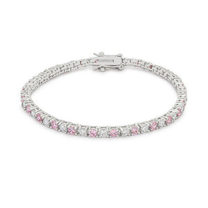 Pink and Clear CZ Tennis Bracelet