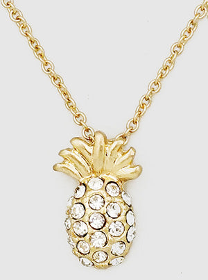 Gold Pave Pineapple Necklace