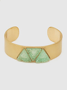 Gold with Green Druzy Cuff