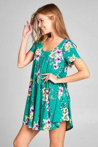 Kelly Green Floral Dress
