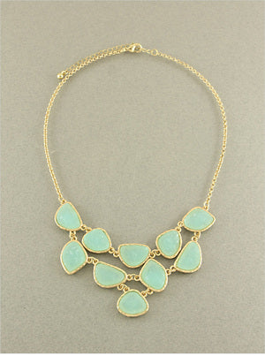 Mint Druzy Bib Necklace