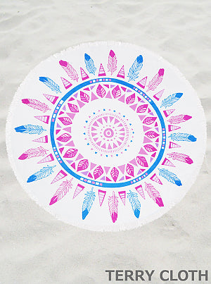 Pink and Blue Feather Towel