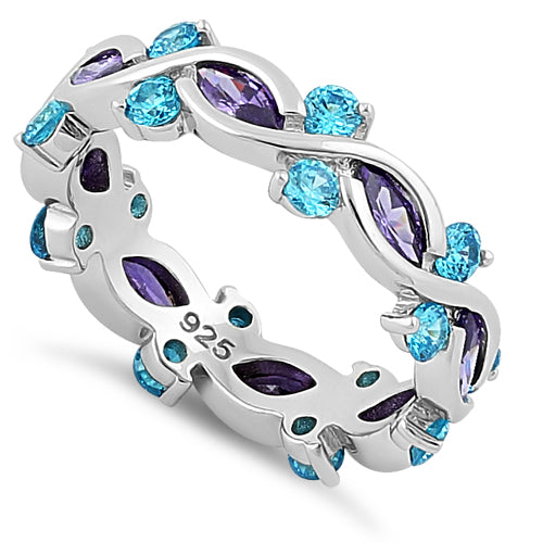 Purple and Aqua Marquise Ring