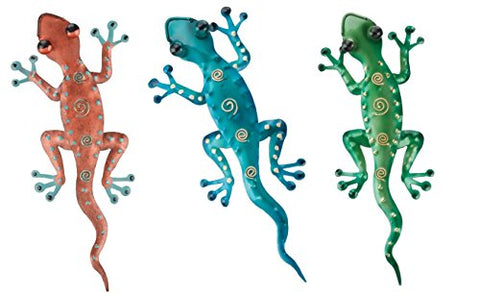 Regal Art & Gift Gecko Décor, Set of 3, 11 Inch in Blue, Green and Copper