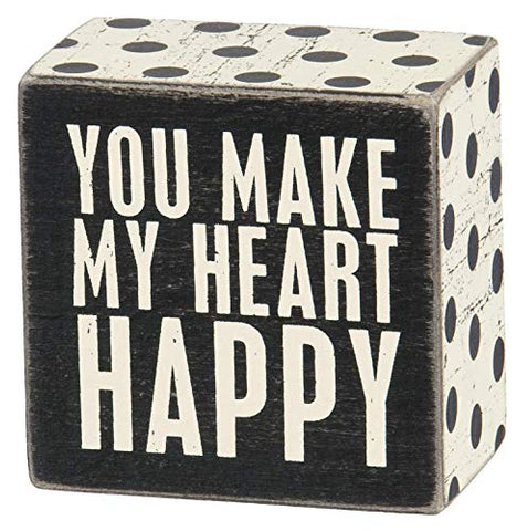 Primitives by Kathy Polka Dot Trimmed Box Sign, Heart Happy, 3 x 3 Inches