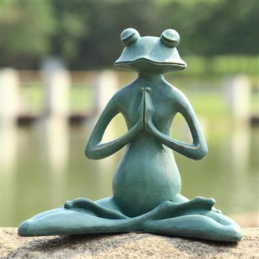 SPI Home Meditating Yoga Frog Garden Sculpture