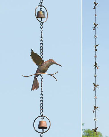 Ancient Graffiti Hummingbirds & Bells Rain Chain, Flamed Copper Colored