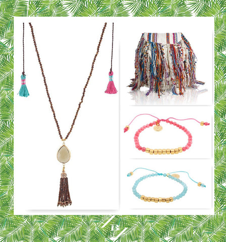 long necklace collar largo piedra tassels colors crystals blue pink adjustable bracelet pulsera aqua bolso colorido bag colorful ibiza passion boho chic gold plated