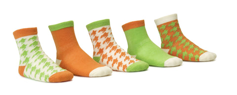 Houndstooth Orange 5 Pack Crew