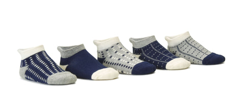 Dots Navy 5 Pack Low Cut