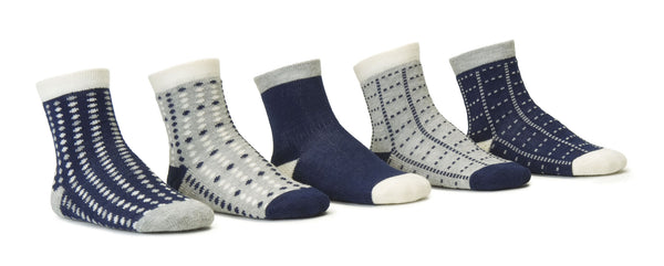Dots Navy 5 Pack Crew