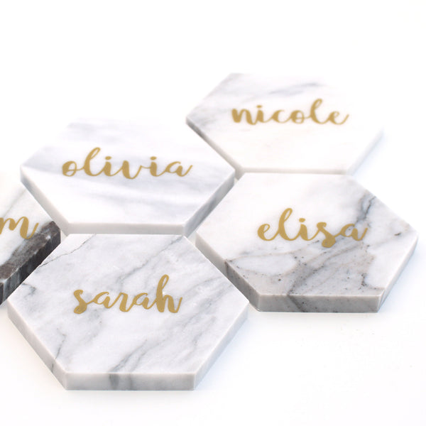 Personalised Hexagon Marble coasters