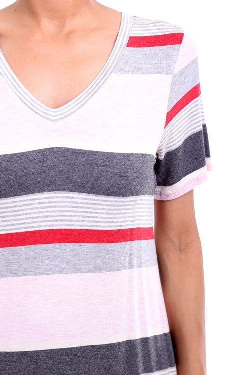 Multi Stripe Short Sleeve V-Neck Tee