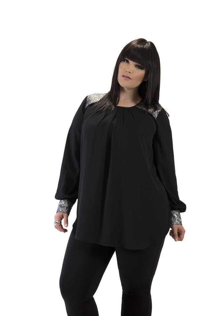 Holiday Long Sleeve Black Sequined Detail Shirt
