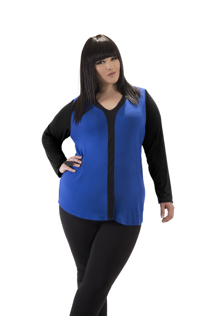 Long Sleeve Blue and Black Top