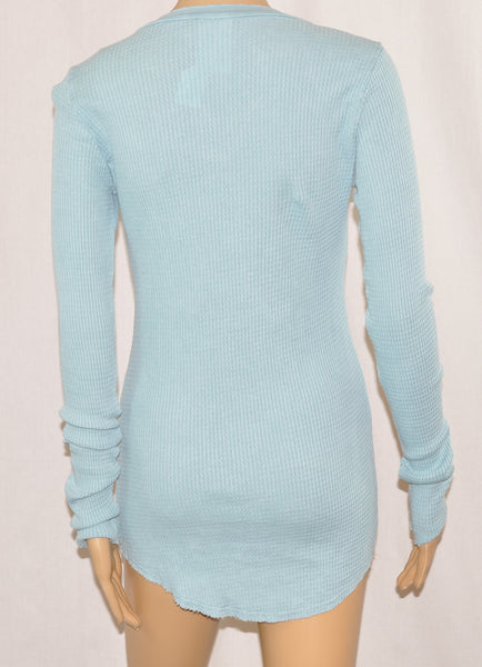 Light Blue Thermal Henley with Studs Top