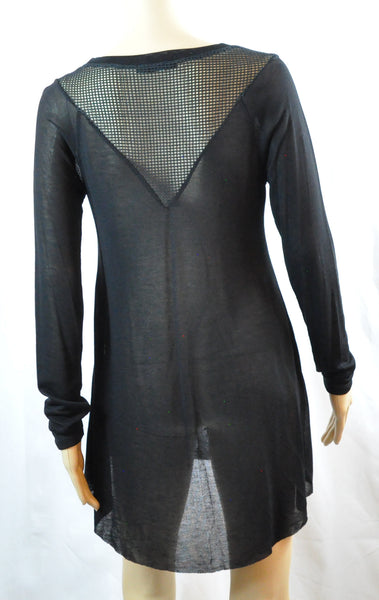Long Sleeve Mesh Lightweight Top with Net Back