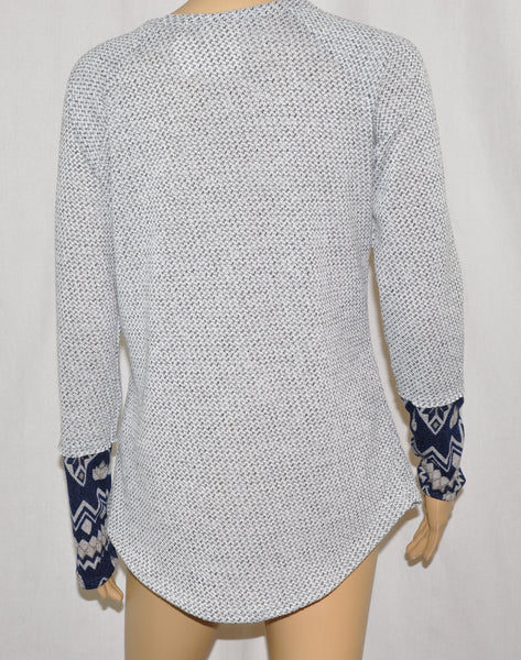 Long Sleeve V-Neck Woven Stud Top with Aztec Design Sleeve