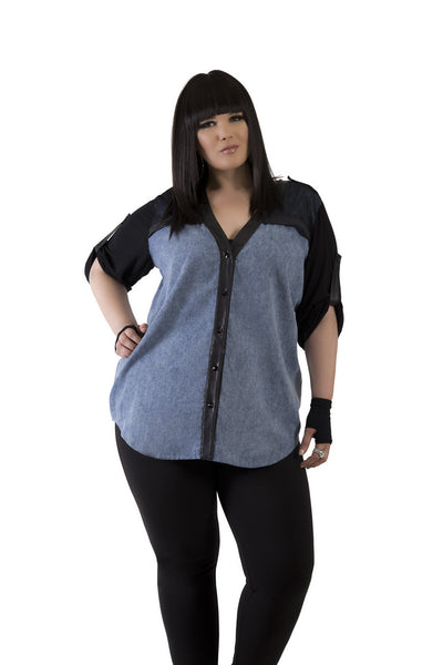 3/4 Sleeve Denim with Black Accent Top