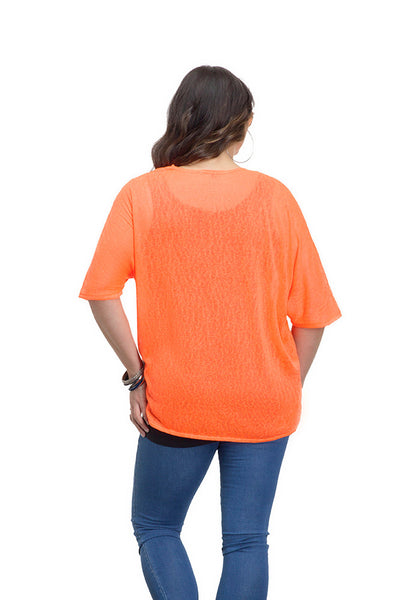 Neon Coral Short Sleeve Shrug