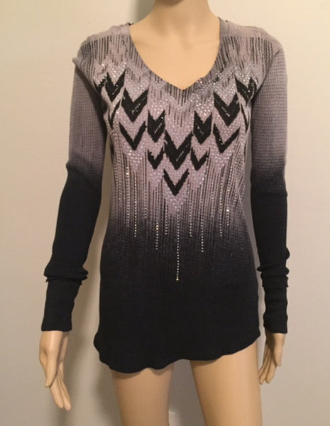 Long Sleeve Tribal Shirt With Rhinestones