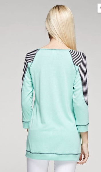 Stripe Contrast Patch Solid Top