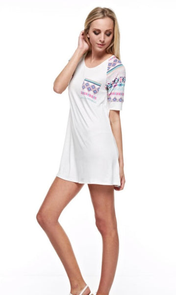 White Tee Shirt Pocket Dress with Aztec Print Sleeve